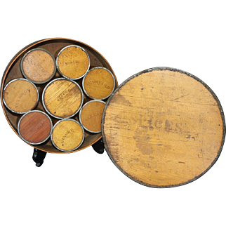 19th Century Tin Bound Bentwood Pantry Spice Box with Eight Spice Canisters