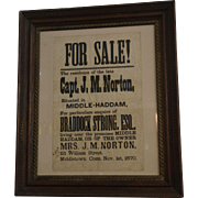 Antique 1870 Framed Broadside Notice Advertising the Sale of Middletown, Conn. Real Estate