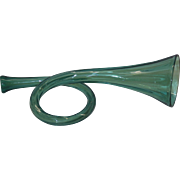 19th Century Green Pattern Molded Glass Horn Whimsy