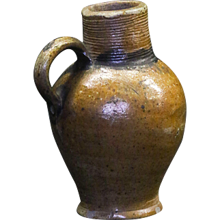 Early Antique Ovoid Stoneware Pitcher with Applied Strap Handle and Incised Spiral Spout
