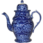 1820's Staffordshire Dark Blue Transferware Coffee Pot