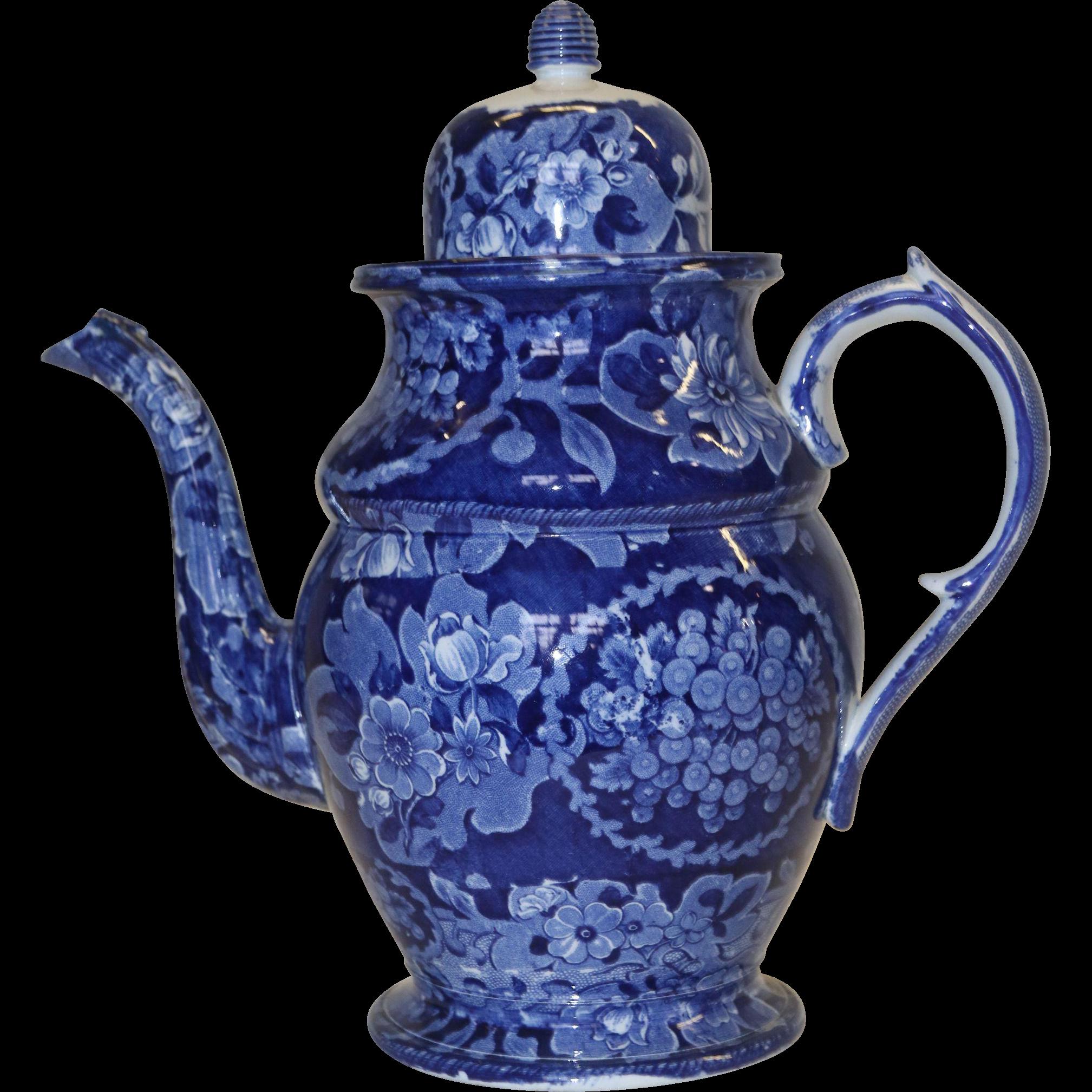 1820's Staffordshire Dark Blue Transferware Coffee Pot