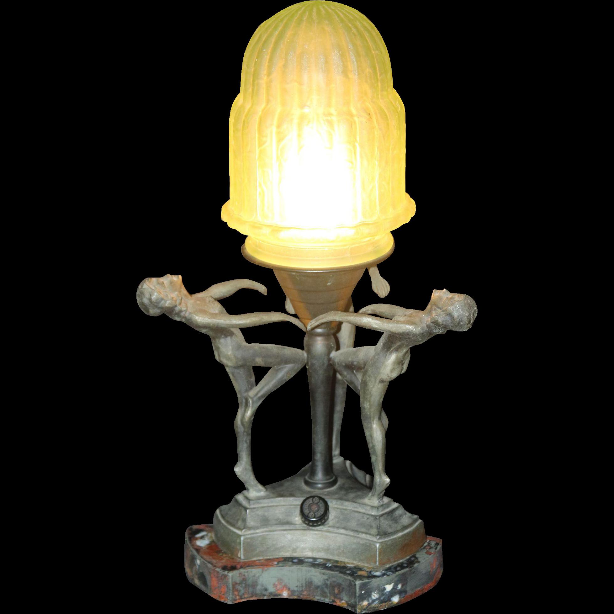 unusual 1930 s era art deco boudoir lamp with three. Black Bedroom Furniture Sets. Home Design Ideas