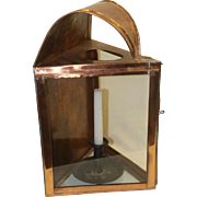 Vintage Triangular Copper and Glass Lantern with Push-up Candle
