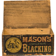 Antique Philadelphia Mason's Challenge Blacking Wooden Advertising Store Display Box