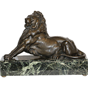 Majestic 1920's Era Cast Lion Sculpture on Granite Veneered Base
