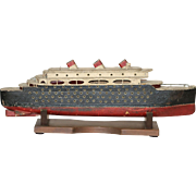 Early 20th Century Hand Made Folk Art Ocean Liner Model