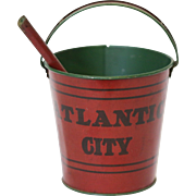 Vintage Atlantic City NJ Tin Sand Pail and Shovel