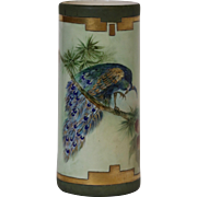 Hand Painted Peacock on Branch Lenox Belleek Vase Ca 1906-1924