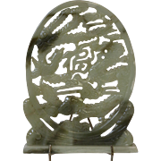 Mid Century Free Standing Jade Sculpture of Dragons and Birds
