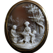 Vintage Carved Cameo Scene in 14k Gold Frame