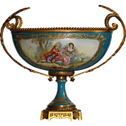 19th Century French Sevres Style Ormolu Hand Painted and Signed Porcelain Center Bowl