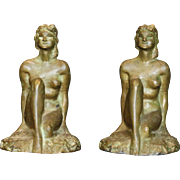 "Ca 1925 McClelland Barclay Art Co. ""Forest Maiden"" Bronzed Art Deco Sitting Nude Woman Bookends"