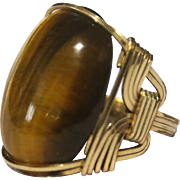 Handmade 14k Gold Men's Ring With Large Oval Tiger Eye Gemstone