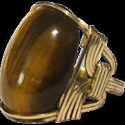 Handmade 14k Gold Men's Ring With Large Oval Tiger Eye Gemstone