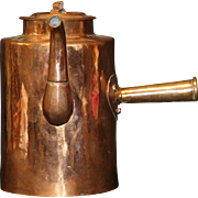 Handmade Tin Lined Copper Coffee Pot with Side Handle, Curved Spout and Rolled Copper Ribbon Lid