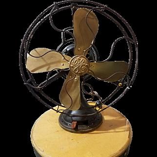 1920s General Electric AOU 3 Speed Oscillating Brass Blade Fan