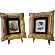 19th Century Antique  Miniature Portrait Pair on Porcelain Tile by Listed  American Artist, Isaac L. Williams