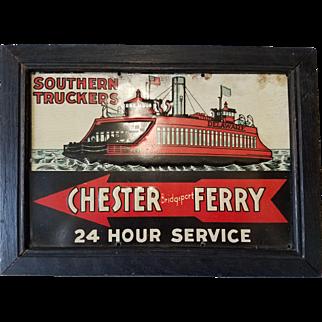 Rare Framed Porcelain Trade Sign for the Chester (PA) - Bridgeport (NJ) Ferry Service