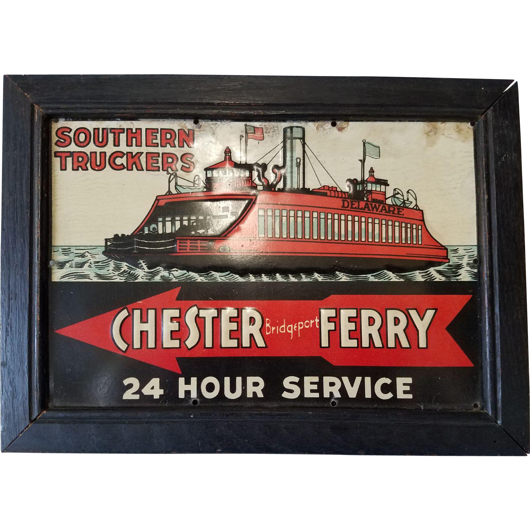 Rare Framed Porcelain Trade Sign for the Chester (PA) - Bridgeport (NJ) Ferry Service