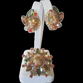Vintage JULIANA DeLizza & Elster Easter Egg Demi Parure Highly Celebrated Brooch and Clip Earring Set