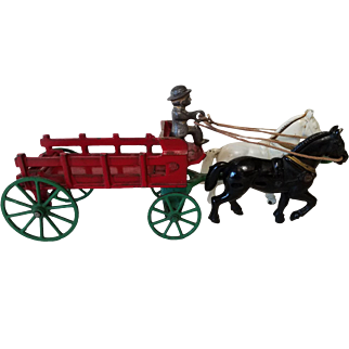 Original 1920's Kenton Cast Iron Horse Drawn Wagon With Driver