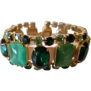 Vintage Juliana Gold Tone Green Moonglow Glass and Rhinestone Bracelet