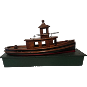Folk Art Hand Crafted Mahogany Tug Boat on Custom Wood Stand