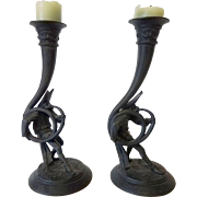 Pair of Vintage Cast Metal Jester Candlesticks