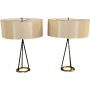 Matched  Pair of  Mid Century Table Lamps by Gerald Thurston