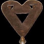 Early Wrought Iron and Brass Heart Shaped Folk Art Trivet