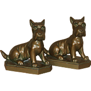 "Vintage Cast Metal Scottie Dog Bookends Signed ""Zart"""