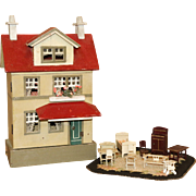 Early 20th Century Hand Crafted Dollhouse With Original Furniture