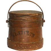 Shaker Firkin with Original Paint Marked W. I. Stutt's