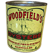 Early 20th Century Woodfields's Fresh Oyster Tin Can, Galesville,Maryland