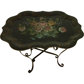 Tole Painted Tray with Stand