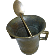 Pharmacy bronze mortar with double ended spoon  # B213
