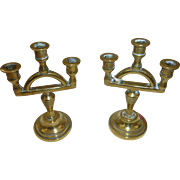 Pair of Miniature brass Candelabras