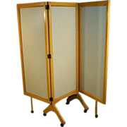 Mid-century Modern Rolling Folding Screen Room Divider