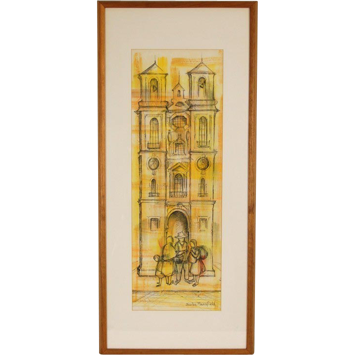 Mid Century Architectural Watercolor Painting W Pen And