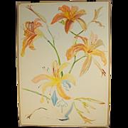 Large Lilies in Arts & Crafts Vase Watercolor Stanley Reginald Wilson British