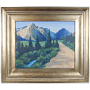 Vintage American Landscape Oil Painting Dirt Road Leading to Mountains
