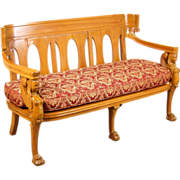 Vintage Empire Egyptian Revival Settee Bench