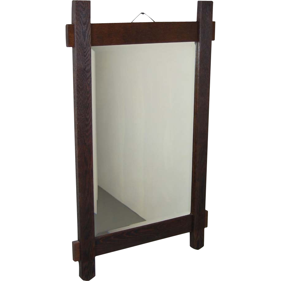 Arts and crafts mirrors - Rustic Arts Crafts Salvaged Oak Wall Mirror Beveled Glass