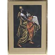 Andre Delfau Original Gouache Painting Moroccan Woman Carrying Box