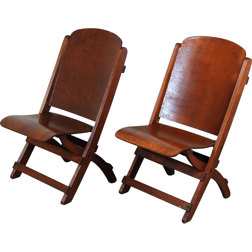 Wood Folding Chairs ~ Nice pair vintage wooden folding chairs theater seats from