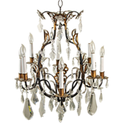 Estate Salvage Elaborate Vintage Gilt Metal Crystal Chandelier