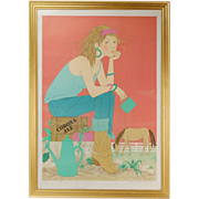 Denis Paul Noyer Limited Ed Lithograph Cute Country Girl Cowgirl w Corona Ale