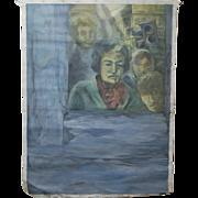 Mid-century Modern Surreal Painting on Loose Canvas Sad Commuters