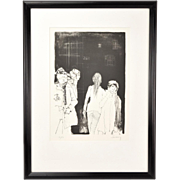 1970's  L/E Lithograph Women on Street signed Jean Jansem Armenian